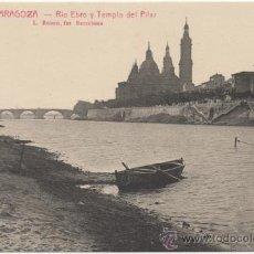 Postales: ZARAGOZA.- RÍO EBRO Y TEMPLO DEL PILAR.. Lote 37187600
