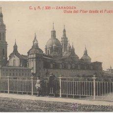 Postales: ZARAGOZA.- VISTA DEL PILAR DESDE EL PUENTE DE PIEDRA.. Lote 37403003