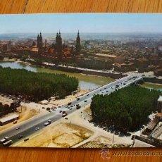 Postales: POSTAL DE ZARAGOZA, VISTA AEREA DEL PILAR Y PUENTE SANTIAGO. Lote 37662265