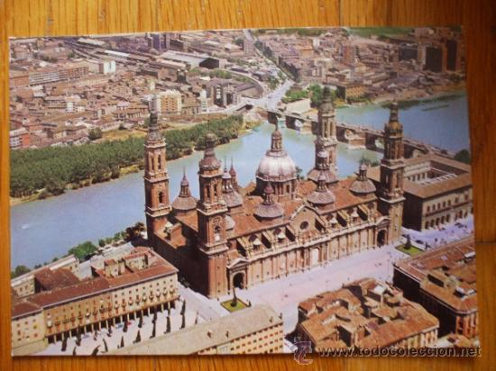 POSTAL ZARAGOZA, VISTA AEREA DEL PILAR Y RIO AEREO 2 (Postales - España - Aragón Moderna (desde 1.940))