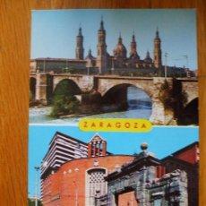 Postales: POSTAL DE ZARAGOZA, PILAR, PUENTE DE PIEDRA, PUERTA DEL CARMEN. Lote 37662519