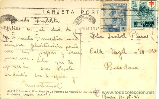 Postales: Alcañiz - Teruel - Postal Altar Patrona de la Virgen de los Pueyos - Foto 2 - 37855716