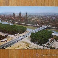 Postales: POSTAL DE ZARAGOZA ,VISTA AEREA PUENTE SANTIAGO Y BASILICA DEL PILAR. Lote 37852388