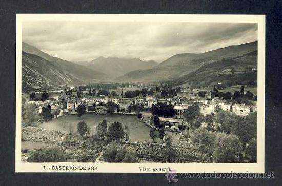 POSTAL DE CASTEJON DE SOS: VISTA GENERAL (NUM. 7) (Postales - España - Aragón Antigua (hasta 1939))