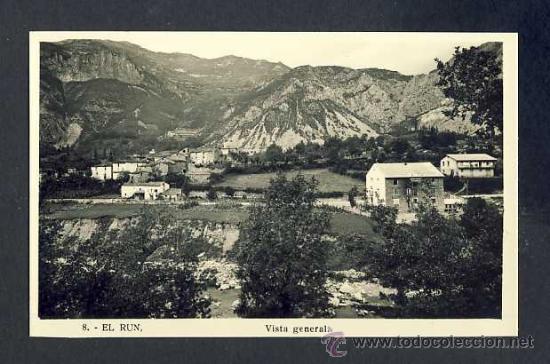 POSTAL DE EL RUN: VISTA GENERAL (NUM. 8) (Postales - España - Aragón Antigua (hasta 1939))