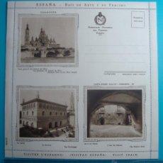 Postales: CARTA SOBRE PATRONATO NACIONAL DEL TURISMO ESPAÑA SERIE 12 ZARAGOZA, CIRCA 1930, NUEVA SIN CIRCULAR. Lote 39452855