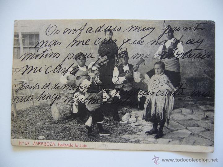 POSTAL ZARAGOZA. BAILANDO LA JOTA. Nº 57. FOT. THOMAS. CIRCULADA 1913. (Postales - España - Aragón Antigua (hasta 1939))