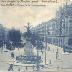 Postales: PS388 ZARAGOZA 'PASEO DE LA INDEPENDENCIA'. SIN REFERENCIAS. CIRCULADA EN 1944. Lote 42107876