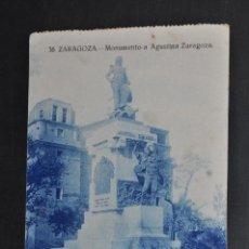 Postales: ANTIGUA POSTAL DE ZARAGOZA. MONUMENTO A AGUSTINA ZARAGOZA. ESCRITA. Lote 43287598