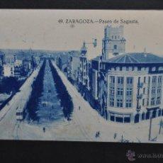 Postales: ANTIGUA POSTAL DE ZARAGOZA. PASEO DE SAGASTA. SIN CIRCULAR. Lote 43656596