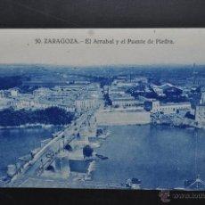 Postales: ANTIGUA POSTAL DE ZARAGOZA. EL ARRABAL Y EL PUENTE DE PIEDRA. SIN CIRCULAR. Lote 43656612