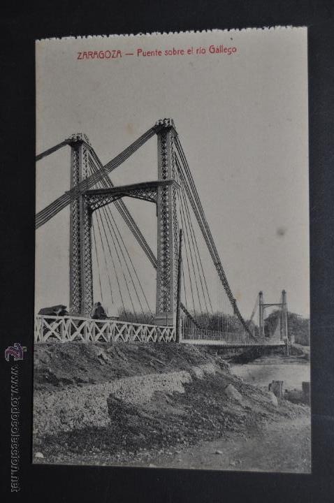 ANTIGUA POSTAL DE ZARAGOZA. PUENTE SOBRE EL RIO GALLEGO. ED. M. ARRIBAS. SIN CIRCULAR (Postales - España - Aragón Antigua (hasta 1939))