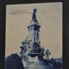 Postales: ANTIGUA POSTAL DE ZARAGOZA. MONUMENTO A LOS SITIOS. ESCRITA. Lote 44199046