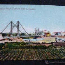 Postales: ZARAGOZA.- PUENTE COLGANTE SOBRE EL GALLEGO. Lote 45539756