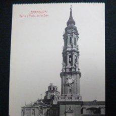 Postales: ZARAGOZA.- TORRE Y PLAZA DE LA SEO. Lote 45539818