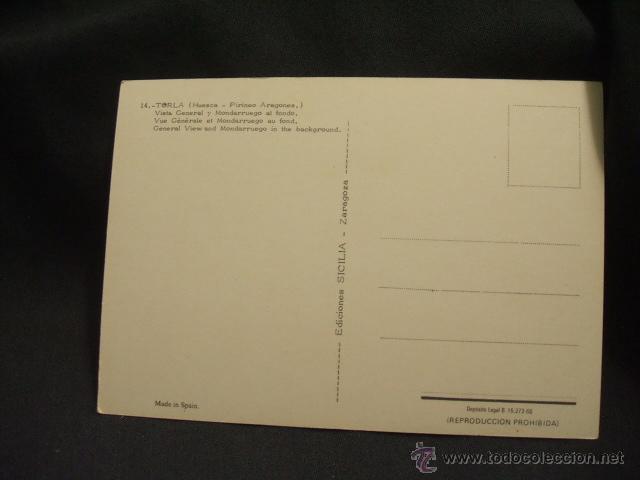 Postales: POSTAL - TORLA - VISTA GENERAL Y MONDARRUEGO AL FONDO - HUESCA - - Foto 2 - 45923507