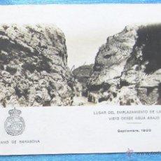 Postales: PANTANO DE BARASONA. LUGAR DEL EMPLAZAMIENTO DE LA PRESA VISTO DESDE AGUAS ABAJO, 1928 GRAUS, HUESCA. Lote 49060608