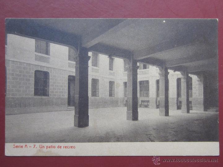 ZARAGOZA, COLEGIO ESCUELAS PIAS , UN PATIO DE RECREO. (FOTOTIPIA THOMAS). SERIE A Nº7. (Postales - España - Aragón Antigua (hasta 1939))
