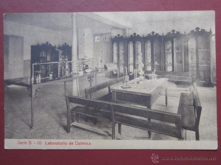 ZARAGOZA, COLEGIO ESCUELAS PIAS , LABORATORIO DE QUIMICA. (FOTOTIPIA THOMAS). SERIE B Nº10. (Postales - España - Aragón Antigua (hasta 1939))