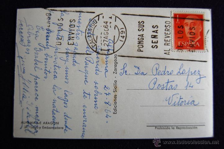 Postales: POSTAL DE ALHAMA DE ARAGON (ZARAGOZA). LAGO Y EMBARCADERO. COLOREADA. AÑOS 50. - Foto 2 - 51797948