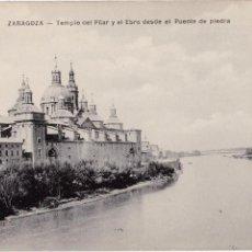 Postales: P- 2751. POSTAL DE ZARAGOZA. TEMPLO DEL PILAR Y EL EBRO DESDE PUENTE DE PIEDRA.. Lote 51819663