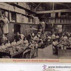 Postales: JACA. HUESCA. PRODUCTOS LA FLOR DE LOS PIRINEOS. INSECTICIDA. LA MERVILEUSE. SALA DE EMPAQUETADO.. Lote 52556677