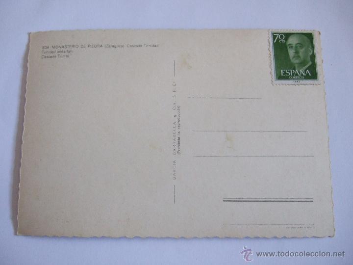 Postales: POSTAL ZARAGOZA - MONASTERIO DE PIEDRA - CASCADA TRINIDAD - 1961 - G. GARRABELLA 804 - SIN CIRCULAR - Foto 2 - 53004448