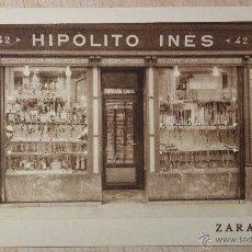 Postales: ANTIGUA POSTAL DE ZARAGOZA. TIENDA DE HIPOLITO INES. SIN CIRCULAR. NUEVA. PERFECTA. COSO,42. ZGZ.. Lote 53594122