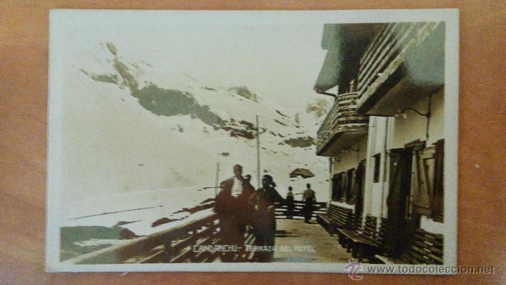 CANDANCHU. HUESCA. TERRAZA DEL HOTEL. CIRCULADA 1939. (Postales - España - Aragón Antigua (hasta 1939))
