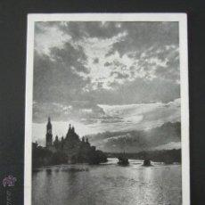 Postales: POSTAL ZARAGOZA. VISTA DEL PILAR. CONTRALUZ. FOTO LUKER. CIRCULADA. AÑO 1938. Lote 54199683