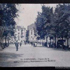 Postales: ZARAGOZA - Nº 10 PASEO DE LA INDEPENDENCIA Y MONUMENTO -PRIMERA SERIE-POSTAL NO CIRCULADA-ARAGÓN. Lote 56087244
