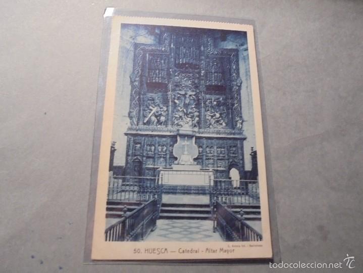50 - HUESCA - CATEDRAL - ALTAR MAYOR L. ROISIN FOTG. 14X9 CM. CIRCULADA (Postales - España - Aragón Antigua (hasta 1939))
