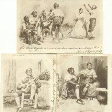 Postales: COLECCION GÁRATE. LOTE DE TRES POSTALES. CIRCULADAS EN 1902 A BÉLGICA DESDE CALATAYUD.. Lote 57911135
