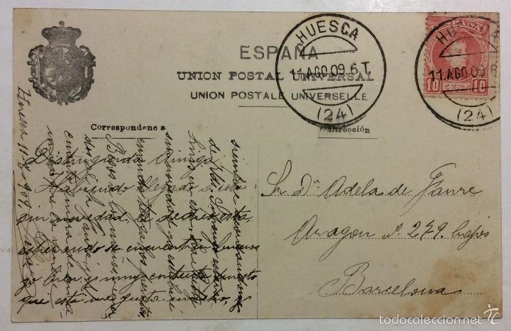 Postales: HUESCA.PLAZA DE LIZANA. (L. ESCOLÁ, Nº 16) CIRCULADA EN 1909. - Foto 2 - 217876727