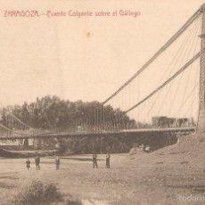 Postales: POSTAL DE ZARAGOZA PUENTE COLGANTE SOBRE EL GALLEGO 29/080. Lote 58340918