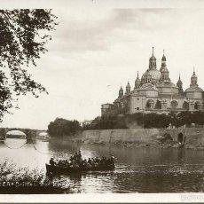 Postales: ZARAGOZA-ORILLA RÍO EBRO-BARCAZA CRUZANDO PERSONAS-FOTOPOSTAL-1931- RARA. Lote 59728227