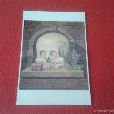 Cartes Postales: TARJETA TIPO POSTAL CUADRO CAPRICHO BERNARDINO MONTAÑES MUSEO DE HUESCA DOBLE IMAGEN CALAVERA NIÑOS. Lote 60793295