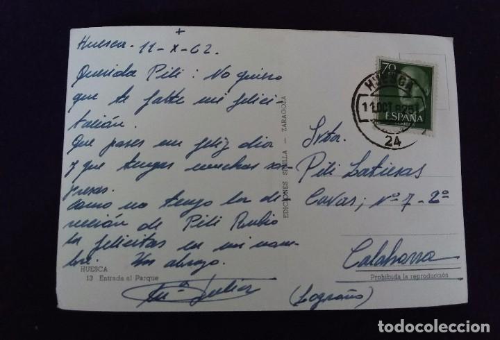 Postales: POSTAL DE HUESCA. N°13 ENTRADA AL PARQUE. EDIC.SICILIA. AÑOS 50. - Foto 2 - 62276676