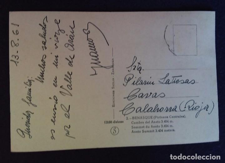 Postales: POSTAL DE BENASQUE (HUESCA). N°2 CUMBRE DEL ANETO 3404 METROS. EDIC.SICILIA. AÑOS 60. - Foto 2 - 62288952