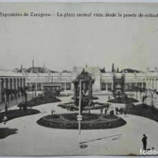 Postales: POSTAL - EXPOSICIÓN DE ZARAGOZA - PLAZA CENTRAL - AÑO 1908 - IMPRENTA ALEMANA. Lote 62601348