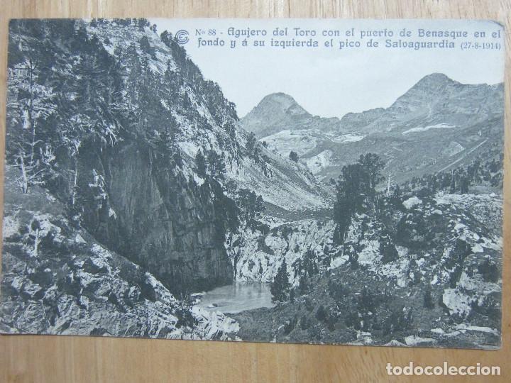 AGUJERO DEL TORO. PUERTO BENASQUE. PICO SALVAGUARDIA.OBRAS SALTO RUN, CATALANA GAS ELECTRICIDAD,Nº88 (Postales - España - Aragón Antigua (hasta 1939))
