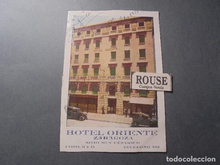 ZARAGOZA - HOTEL ORIENTE , SITIO MUY CENTRICO COSO 11 Y 13 POSTAL CIRCULADA 1924 - 14X9 CM. (Postales - España - Aragón Antigua (hasta 1939))