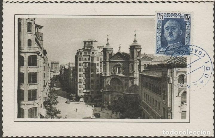 ZARAGOZA IGLESIA DE SANTA ENGRACIA Y CALLE DE COSTA EDIFIL 999 GENERAL FRANCO MAT IGUALADA BARCELONA (Postales - España - Aragón Antigua (hasta 1939))