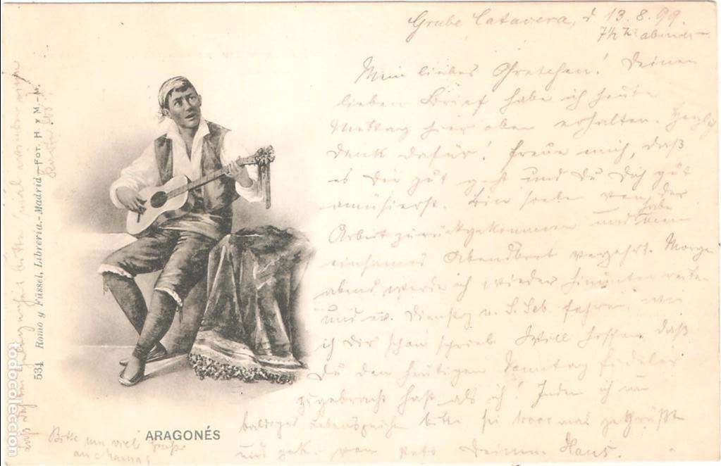 ARAGONÉS POSTAL CIRCULADA EN 1899. SELLO PELÓN EN EL REVERSO (Postales - España - Aragón Antigua (hasta 1939))