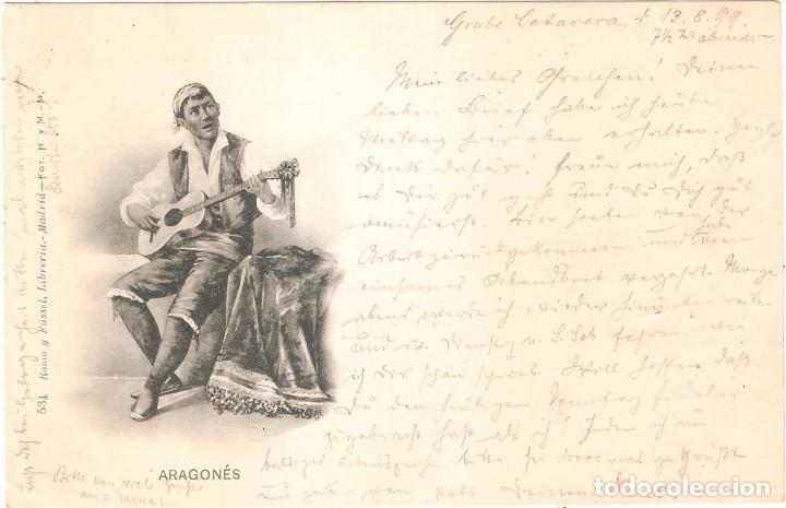 Postales: ARAGONÉS POSTAL CIRCULADA EN 1899. SELLO PELÓN EN EL REVERSO - Foto 2 - 70511901
