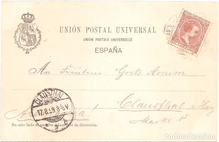 Postales: ARAGONÉS POSTAL CIRCULADA EN 1899. SELLO PELÓN EN EL REVERSO - Foto 3 - 70511901