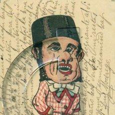Postales: ZARAGOZA. GIGANTES Y CABEZUDOS. EL BOTICARIO. CIRCULADA EN ESPERANTO EN 1915. MUY RARA. PIEZA ÚNICA.. Lote 72284239