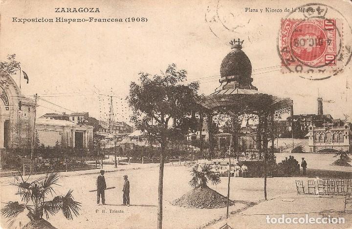 ZARAGOZA EXPO. HISPANO - FRANCESA 1908 CIRCULADA EN 1908 (Postales - España - Aragón Antigua (hasta 1939))