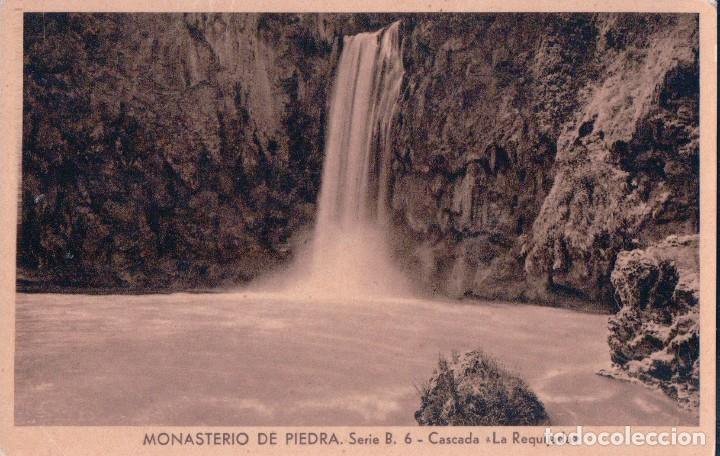 POSTAL MONASTERIO DE PIEDRA SERIE B 6 CASCADA LA REQUIJADA HUECOGRABADO MUMBRU BARCELONA (Postales - España - Aragón Antigua (hasta 1939))