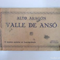 Postales: ANTIGUA POSTAL VALLE DE ANSO CALLE PLAZA ANSOTANA LOTE DE SEIS EN CUADERNILLO FOTO COMPAIRE. Lote 76580099